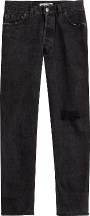 High Rise Jeans With Distressed Detail