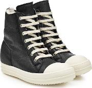 Leather High Top Sneakers With Sheepskin Lining