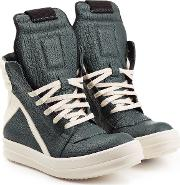 Textured Leather High Top Sneakers