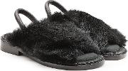 Leather Sandals With Rabbit Fur