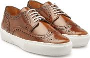 Leather Sneakers With Brogue Detailing
