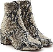Snakeskin Printed Leather Ankle Boots