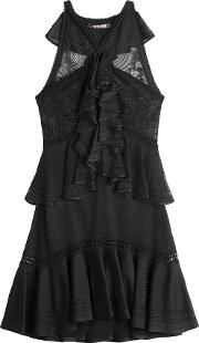 Lace Panel Dress With Ruffles