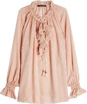 Silk Blouse With Ruffles And Tassels