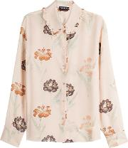 Printed Silk Blouse With Ruffled Collar