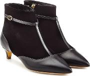 Leather And Stretch Fabric Dawn Booties