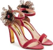 Nymphea Velvet Sandals With Feathers