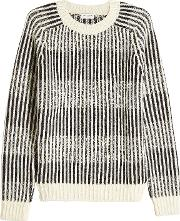 Jacquard Stripe Knit Pullover With Wool, Alpaca And Mohair