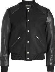Teddy Virgin Wool Blouson With Leather Sleeves