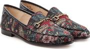 Printed Fabric Loafers With Leather