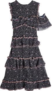 Printed Dress With Cold Shoulder
