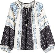 Printed Cotton Blouse With Linen