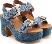 See By Chloe Platform Sandals In Denim And Leather