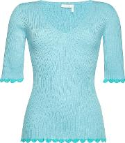 See By Chloe Ribbed Top With Scallop Trim