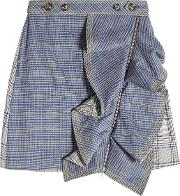 Self Portrait Flounced Check Skirt With Zipped Front