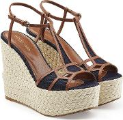 Leather And Denim Wedge Sandals