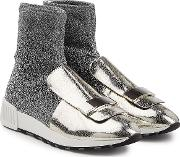 Metallic Sock Sneakers With Leather