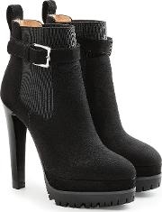 Suede Ankle Boots With Gripped Sole