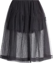 Skirt With Tulle Overlay