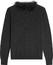 Wool, Silk And Cashmere Pullover With Feather Trim