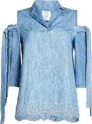 Denim Top With Cut Out Shoulders