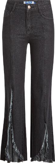 Flared Jeans With Distressed Fringing