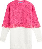 Wool Pullover With Fringed Trim