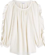 Silk Blouse With Ruffled Sleeves