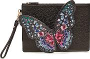 Flossy Embroidered Leather Butterfly Pouchette
