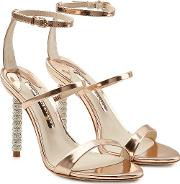 Rosalind Metallic Leather Sandals With Embellished Heels
