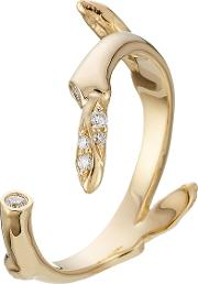 Fleur Marriage 18kt Gold Ring With White Diamonds