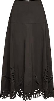 Embroidered Midi Skirt With Cotton
