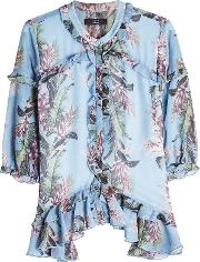 Floral Printed Blouse With Ruffles