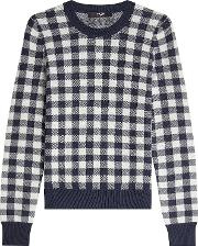 Gingham Print Pullover With Cashmere