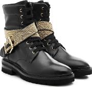 Leather Ankle Boots With Embellishment