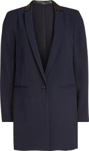 Long Blazer With Leather Trims