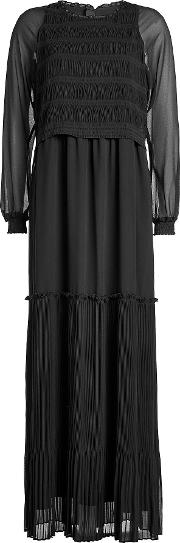 Pleated Dress With Sheer Sleeves