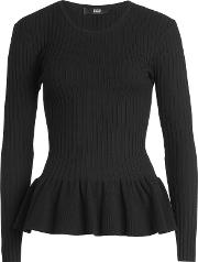 Ribbed Pullover With Peplum