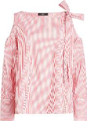 Striped Cotton Blouse With Cold Shoulders