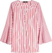 Striped Cotton Blouse With Flared Sleeves