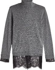 Turtleneck Pullover With Lace