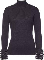 Turtleneck Pullover With Ruffled Sleeves