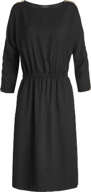 Crepe Dress With Zipped Shoulders