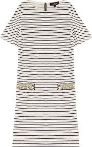 Striped Cotton Dress With Embellishment