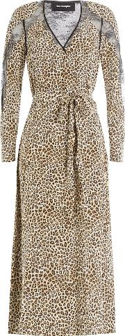 Animal Printed Silk Dress With Lace