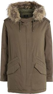 Cotton Parka With Fur Trimmed Hood