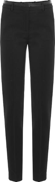 Wool Pants With Leather Trim