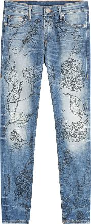 Halle Jeans With Floral Print