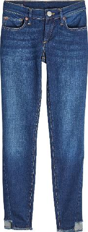Skinny Jeans With Staggered Hem