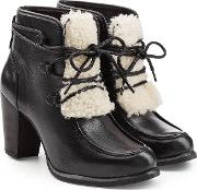 Leather Ankle Boots With Shearling